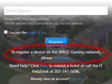 Register devices at wifi.smccme.edu
