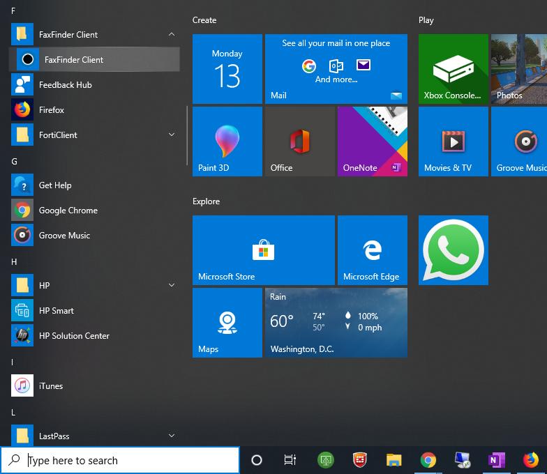 Windows 10 Start Menu - Fax Finder Client