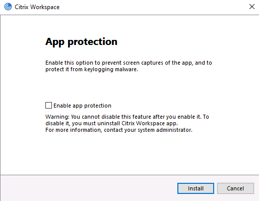 app Protection option